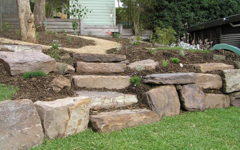 natural stone rock steps and retaining walls Eltham
