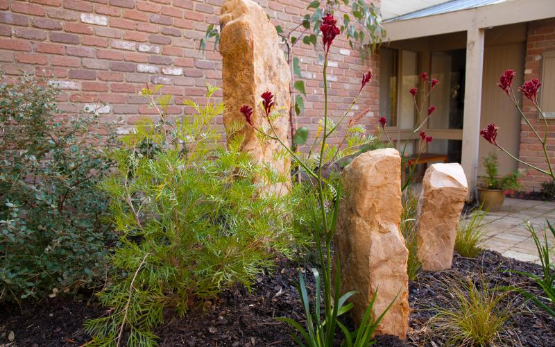 garden rock feature native garden