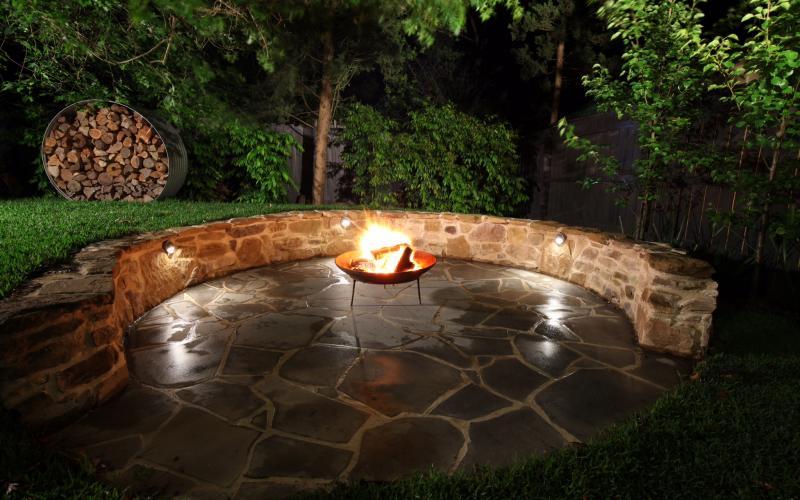 garden lighting paving fire pit